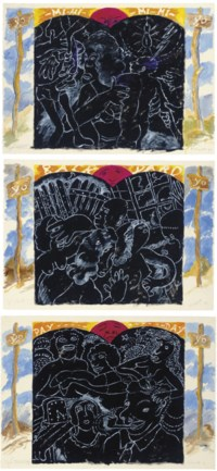 """Yo Sign signed, titled and dated 'R. Colescott 96 Yo Sign' (lower edge) watercolor, oil and graphite on paper  29½ x 41¾ in. (74.9 x 106 cm.)  Executed in 1996.  Yo Yard? signed, titled and dated '""""Yo Yard?"""" R. Colescott 96' (lower edge) watercolor, oil and graphite on paper  29½ x 41¾ in. (74.9 x 106 cm.)  Executed in 1996.  Yo Marriage signed, titled and dated 'R. Colescott Yo Marriage' (lower edge)  watercolor, oil and graphite on paper 29½ x 41¾ in. (74.9 x 106 cm.) Executed in 1996.  (3)"""